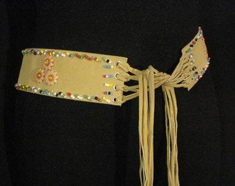 Tan Leather Belt Beaded Indian Boho Ethnic Gypsy Accessory ML