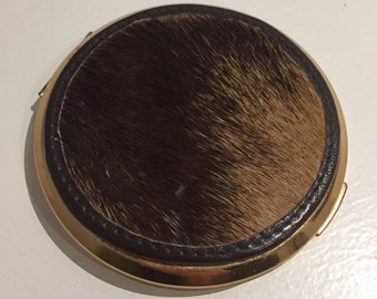 Vintage gold compact stratton leather hide rare