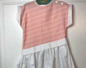 Vintage little girls size 5 pink striped drop waist dress