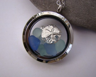 Sea Glass Floating Locket - Stainless Steel Non Magnetic Locket - Blue Sea Glass Pendant - Sand Dollar - Sea Glass Jewelry