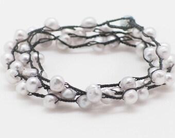Dainty Crochet Pearl Necklace