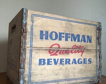 Vintage Hoffman Wooden Dairy Milk Crate. Rustic Country Cottage Garden Farm Industrial. Newark, NJ
