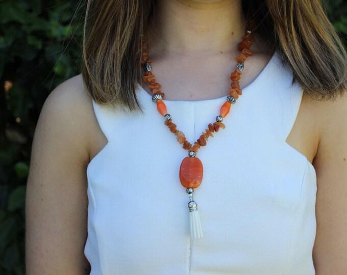 Tangerine Orange Beaded Tassel Statement Necklace.
