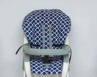 Graco baby accessory cotton fabric high chair cover, replacement baby chair pad, baby feeding chair cushion, kids chair,navy blue quatrefoil