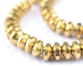 275 Compressed Brass Bicone Beads 5mm - Brass Beads - Metal Beads - Brass Spacers - Small Beads - Jewelry Making Supplies (MET-BIC-BRS-158)
