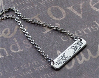 Bar Necklace, Silver Bar Jewelry, Engraved Necklace, Layered Jewelry, Silver Necklace, Bar Jewelry, Bridesmaid Gift, Gift For her, Enchanted