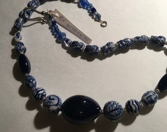 Cobalt blue ceramic bead necklace handmade in NY