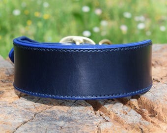 Wide Padded Leather Dog Collar - size L