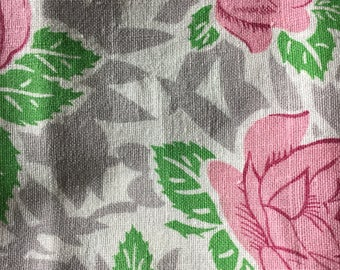 Vintage Feedsack Fabric Rose Pink and Green.