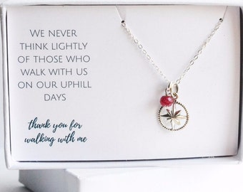 Best Friend Gift Idea - Compass Friendship Necklace - Thank You Gift for Friend - Gift for Bestfriend - Sterling Silver Friend Necklace