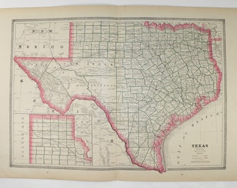 1885 Antique Texas Map, Lone State Star Map, Texas Gift, TX Map, Vintage Map of Texas, Wedding Gift for Couple, Texas Art Gift for Him