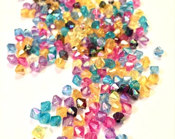 Supplies - Big Pile of Colorful Plastic Bicone Beads - Pretty Spring Colors