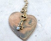 Heart and Key Necklace, Vintage Heart Necklace, Long Beaded Necklace, Valentine Jewelry