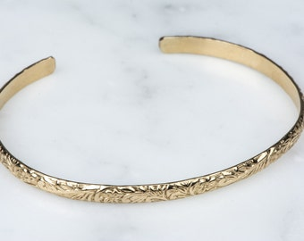 14kt Gold Fill Minimalist Thin Cuff Bracelet, Simple Layering Bracelet Cuff, Art Nouveau Delicate Cuff, Everyday Bracelet, Victorian Braclet