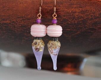 Rustic Earrings, Pink Earrings, Purple Teardrop Earrings, Lampwork Glass Bead Earrings, Boho Chic Earrings, Drizzled Pink Earrings