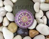 Magical Gold & Pink Mandala Dotty Rock with Bonus Heart rock
