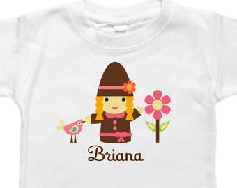 Personalized Baby Bodysuit - Toddler Shirt Tshirt - Baby Shower Birthday Gift - Blond Gnome Girl Woodland Bird
