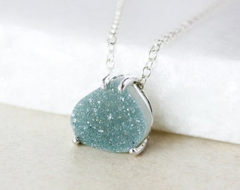 50 OFF SALE Sage Green Druzy Pendant Necklace - Pear-Shape - Choose Your Druzy