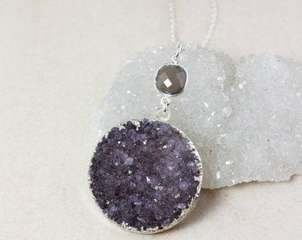 50 OFF SALE Purple Druzy and Grey Chalcedony Necklace – Choose Your Druzy – 925 Sterling Silver