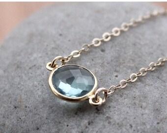 20% OFF SALE Gold Teal Quartz Necklace - Simple Bezel Necklace - Mini Pendant