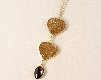 50% OFF Gold Honey Brown Druzy Necklace - Smokey Quartz - 3-Tier Druzy Necklace