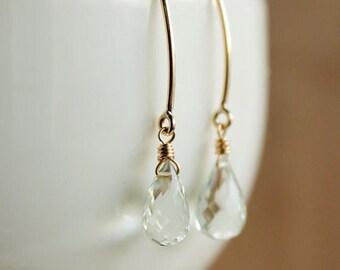 ON SALE Gold Green Amethyst Earrings - Simple Gemstone Hooks - 14K Gf