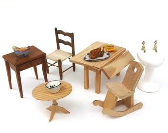 vintage miniature furniture ..   dollhouse furniture   ...    collection of accessories
