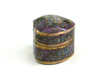 vintage chinese cloisonne    ...   tiny heart box