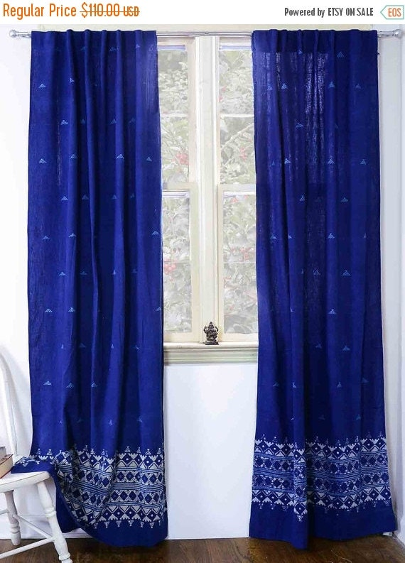 "Indigo curtains window curtain Indigo blue bedroom - ONE Panel - 40""x84"" - block print curtain - Cotton - Home and Living - Border Indigo"