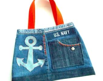 Tote - Purse - Recycled - Denim - Nautical - Anchor - Embroidery - Blue - Orange Details - Original - Resort - Beach - Hand Made - Unique