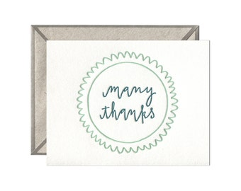 Many Thanks letterpress card - single