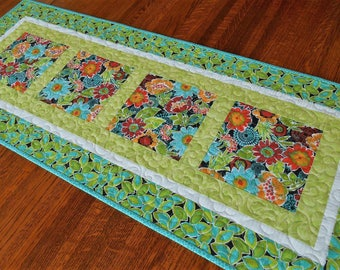 Quilted Table Runner with Bright Flowers in Orange Red Turquoise and Green, Outdoor Dining Decor, Summer Decor, Dining Table Decor