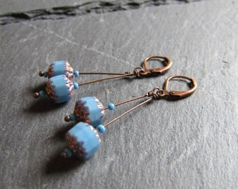 Sky Blue Cathedral Glass on Antiqued Copper Dangles, Boho, Chic, Unique, Original, Sticks, Stacks, Faceted, Gifts for her, Czech Glass, Rare