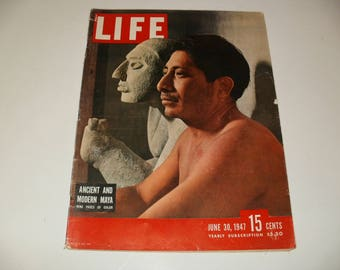Vintage Life Magazine June 30 1947 - Ancient & Modern Maya Cover - Coca-Cola ad Scrapbooking Paper Ephemera Vintage Retro Ads