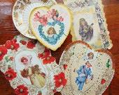 Vintage Victorian Valentine Card lot 4 Cards Paper Ephemera