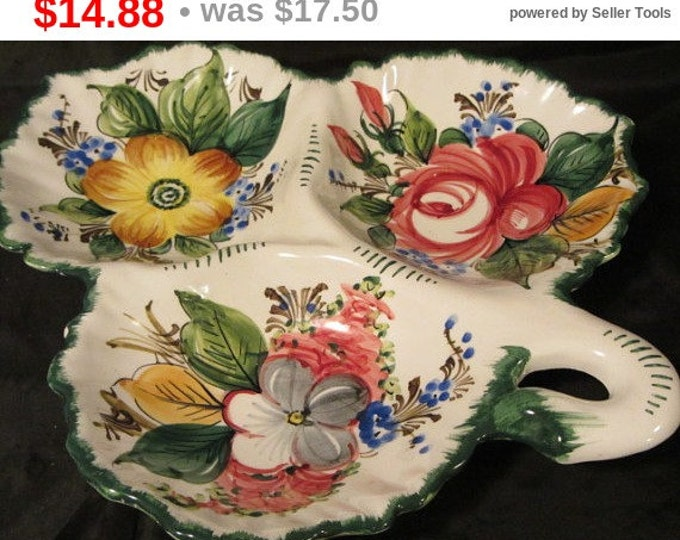 Vintage Made In Italy Pottery 3 Bowled Dish Floral Print, Decorative Serving Dish, Holiday Serving Dish, Italian Pottery Dish, Veggie Tray