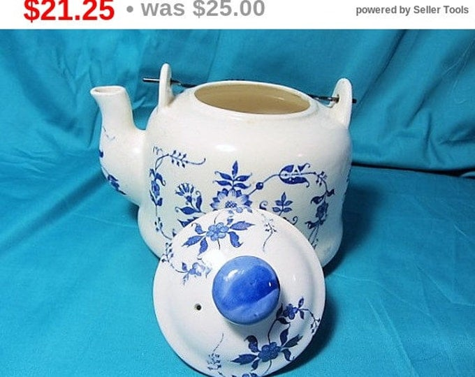 White and Blue Tea Pot, Delft, Blue & White, Wire Handle Tea Kettle, Price Imports Japan Display Teapot, Blue on White Ceramic Tea Kettle