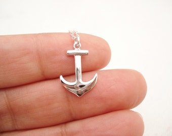 Sterling Silver Anchor necklace...Beach wedding, Best friends gift, Nautical jewelry, Ocean lover, Bridesmaid gift,