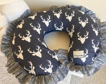 Navy Deer Nursing Pillow Cover, Grey Arrows Boppy Cover, Deer Boppy Cover, Baby Boy Nursing Pillow Cover, Navy Boppy Cover