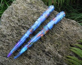 "Hair stick 6"" acrylic Blue mosaic"