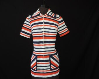 mod striped blouse 1960's orange + navy stripes atomic tunic large