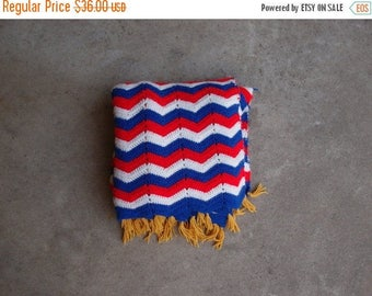 SALE SALE SALE Vintage Afghan Blanket Red White Blue Gold Americana Independence Day July Fourth Memorial Day Home Decor Chevron Stripes Cro