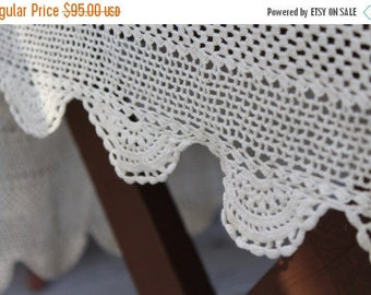 SALE SALE SALE Vintage Crocheted Doily Tablecloth Cream Off White Gorgeous Shabby Cottage Chic Decor Wedding Handmade Scalloped Edges