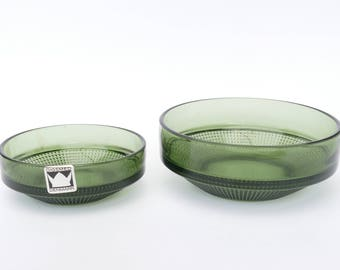 DIGSMED Denmark - 2 Green Glass Bowls with LABEL - Mid Century Modern