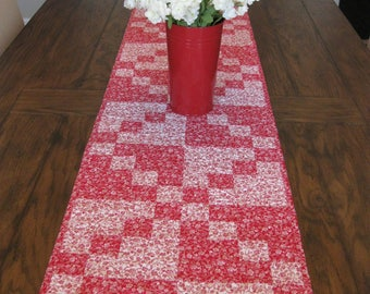 Red and White Four Patch Quilted Table Runner