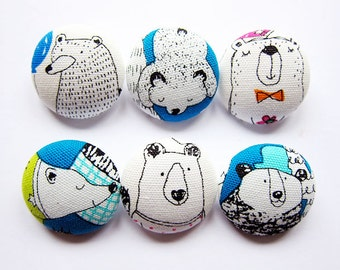 Bear Buttons - Sewing Buttons / Fabric Buttons - 6 Large Fabric Buttons Set