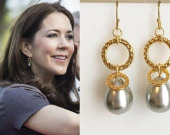 Crown Princess Mary Gray Pearl Hammered Gold Circle Drop Earrings