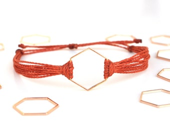 Rose gold hexagon string bracelet. Rust thread bracelet. Hexagon jewelry. Honeycomb bracelet. Bridesmaid gift. Brown cord bracelet. Minimal.
