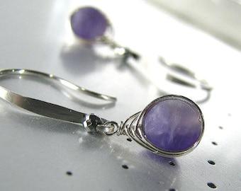 Amethyst Earrings, Purple Amethyst Earrings, Sterling Silver, Natural Amethyst Gemstone, Purple Earrings, Birthstone Earrings - Chevron
