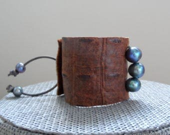 "pearl and leather cuff bracelet, 2"" wide"